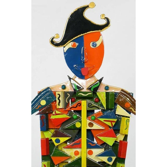 Signed Colorful Folk Art Lifesize Jester Sculpture - Image 3 of 7