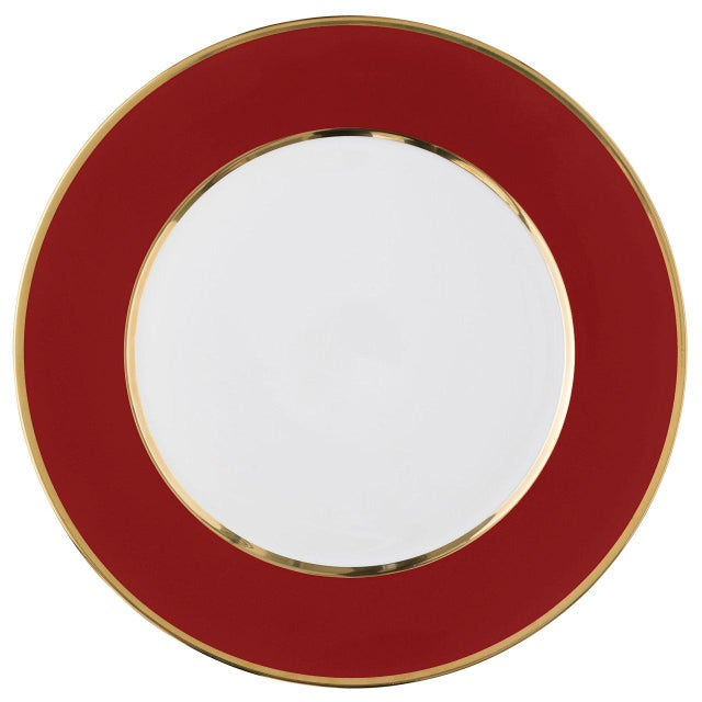 """Schubert"" Charger in Red & Narrow Gold Rim For Sale - Image 13 of 13"