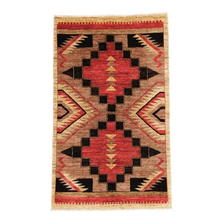 """Navajo Style Hand Knotted Wool Rug - 3'3"""" X 5'3"""" For Sale"""