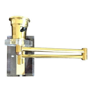 Late 20th Century Lucite Brass Swing Arm Sconce For Sale