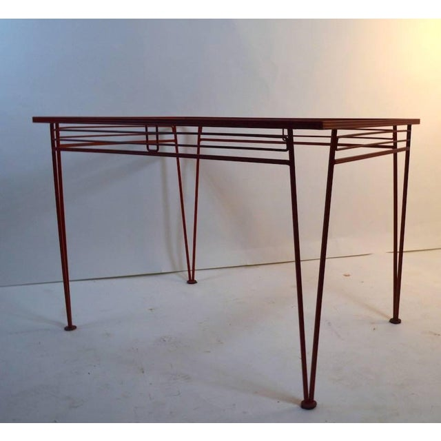 Red Mid-Century Modern Salterini Patio Garden Dining Table For Sale - Image 8 of 10