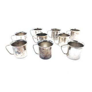 "1960s Vintage Mid-Century Silver Plated ""Baby Mugs"" - Set of 9 For Sale"