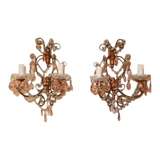 French Maison Baguès Style Pink Floral Crystal Sconces, circa 1920 For Sale