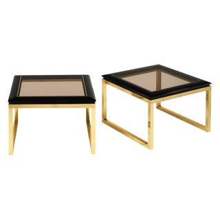 Pair of Mid-Century Smoked Glass Side Tables For Sale