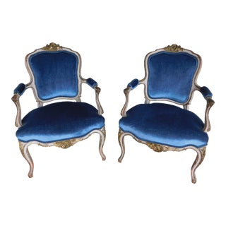 Vintage French Louis XV Style Accent Arm Chairs - a Pair For Sale