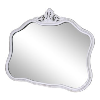Vintage French White Carved Wall Mirror For Sale