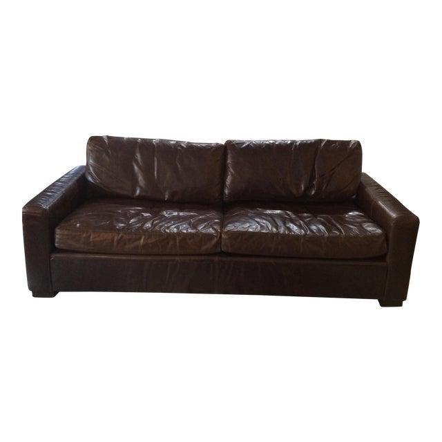 Restoration Hardware Leather Queen Sleeper Sofa - Image 1 of 11
