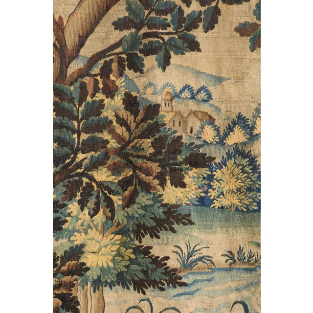 French Pair of 19th Century French Handmade Vertical Tapestries with Pastoral Scenes For Sale - Image 3 of 12