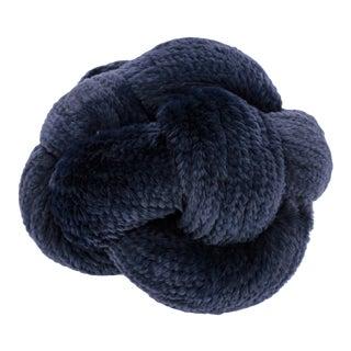 Navy Rabbit Fur Knot Floor Pillow For Sale