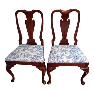 Queen Anne Cherry Wood Dining Chairs - a Pair For Sale