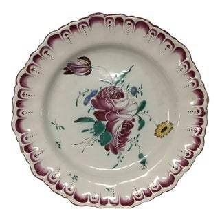 French Hand Painted No.4 Faience Plate For Sale