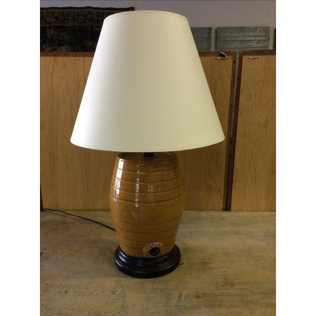 English Glazed Pottery Cask Lamp - Image 5 of 5