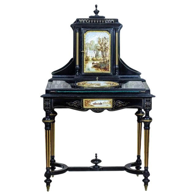 French Napoleon III Lady's Desk, circa 1870, with Porcelain Tableau For Sale