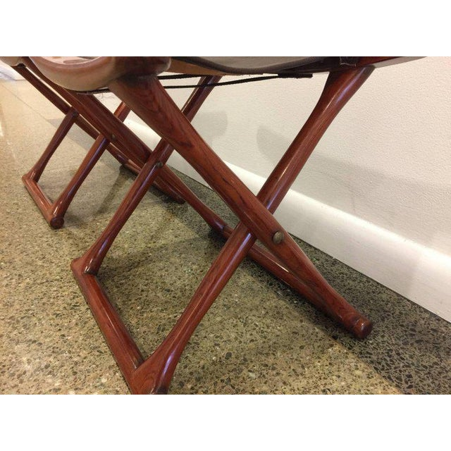 Ole Wanscher Pair of Rosewood Egyptian Folding Stools, Ole Wanscher Style For Sale - Image 4 of 4