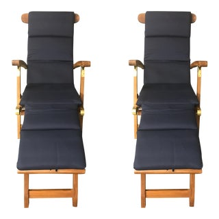 1980s Solid Teak & Brass Folding 'Steamer' or Garden Lounger Chairs With New Navy Blue Cushions & Foot Rests - a Pair For Sale