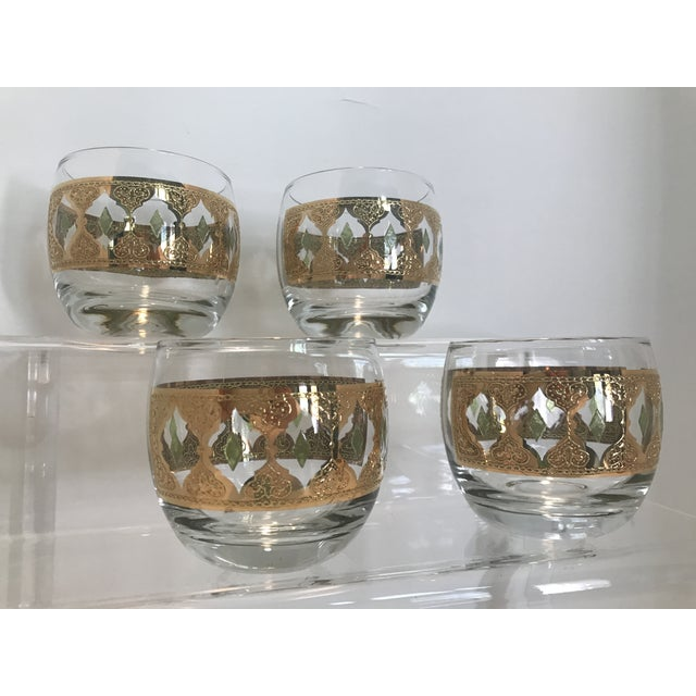 1950s Culver Valencia Green and 22k Gold Roly Poly Cocktail Glasses - Set of 4 For Sale - Image 9 of 10