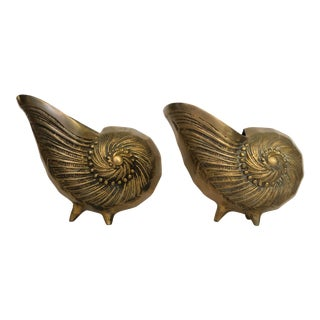 Vintage Gold Finish Nautilus Shell Planters-A Pair For Sale