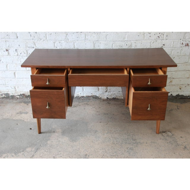 Caning Broyhill Brasilia Mid-Century Modern Sculpted Walnut Desk For Sale - Image 7 of 13