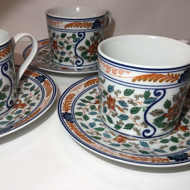 Imari Blossoms Teacups and Saucers by Georges Briard - Service for 3 For Sale - Image 9 of 12