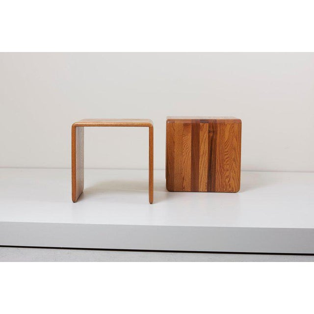 Jawar Pair of Two James Rannefeld Wood Ribbon Stools, Us For Sale - Image 4 of 7