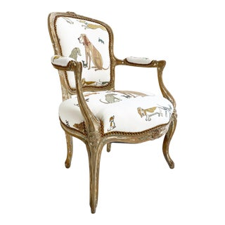 18th C. Louis XV Fauteuil in Chelsea Textiles 'Dogs Socialising' For Sale