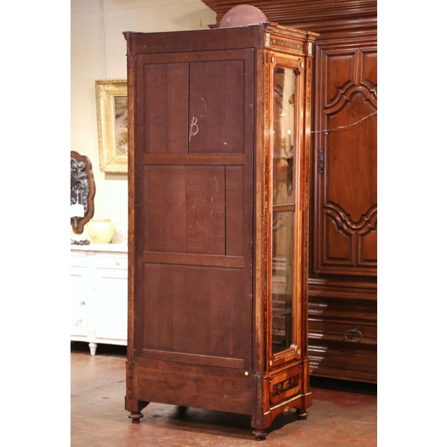 19th Century French Louis XVI Walnut Marquetry Vitrine With Glass Sides and Door For Sale - Image 12 of 13