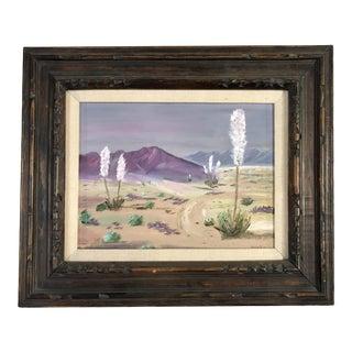 1950s Mid Century Desert Scenic Landscape Oil on Board in Original Frame, Signed For Sale