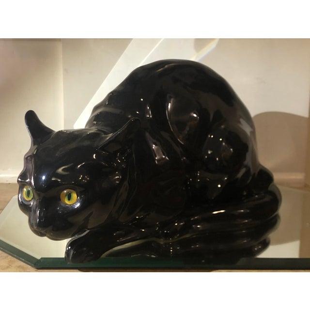 Black Rare Antique Wiener Kunst Keramische Werkstatte Austria Ceramic Black Cat W Glass Eyes For Sale - Image 8 of 8