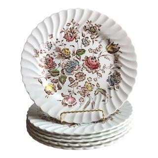 6 Staffordshire Bouquet England Ironstone Dinner Plates