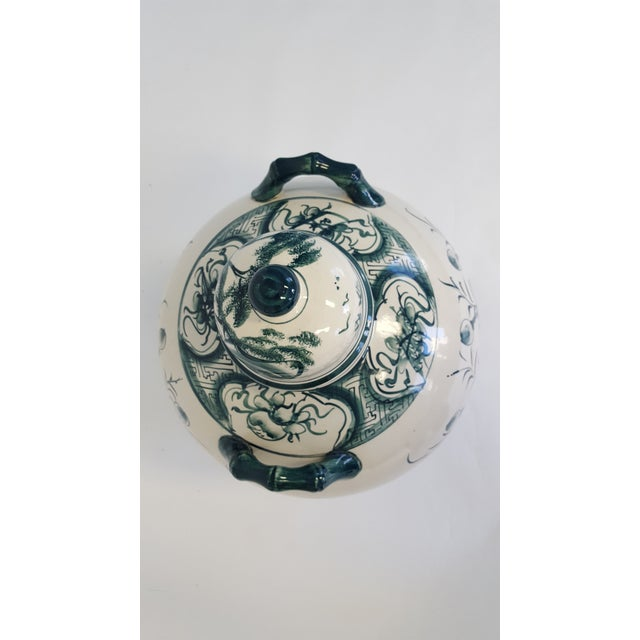 Large Hand Painted Porcelain Urn For Sale - Image 5 of 6