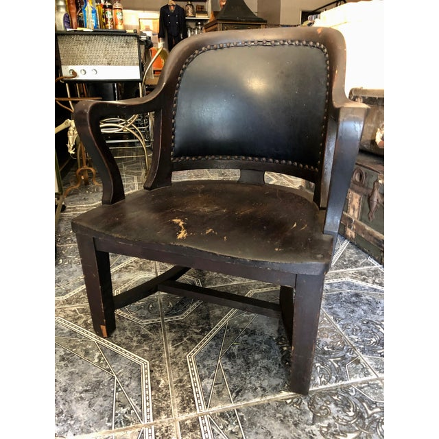 Boho Chic 1940s Vintage Stout and Wide Wood and Leather Studded Bowed Back Reading Chair For Sale - Image 3 of 12