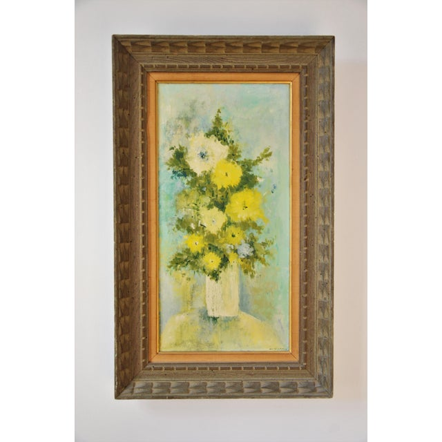 """Vintage Framed Mid-Century Flower Painting on Canvas """"White Vase"""" by Emily Whaley For Sale - Image 11 of 11"""