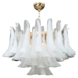 Mazzega Murano Blown Glass White Petal Chandelier
