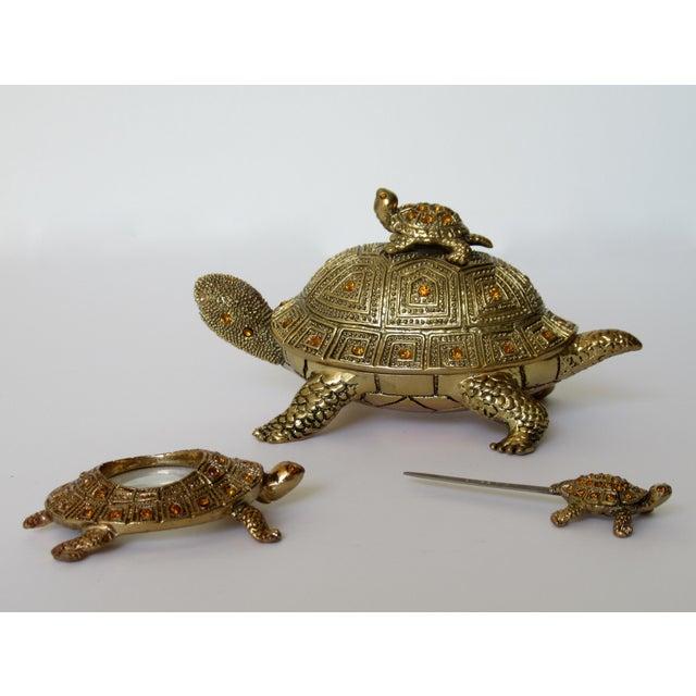 Greek Key Gilt Brass Bejeweled Turtle Lidded Keepsake Box, Letter Opener & Magnifier Set in One - 3 Pieces For Sale - Image 13 of 13