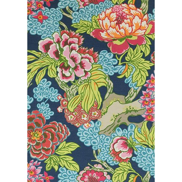 Abstract Blue and Pink Floral Decorative Pillow Cover in Thibaut Honshu For Sale - Image 3 of 4