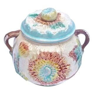Antique Majolica Dahlia Lidded Bowl For Sale