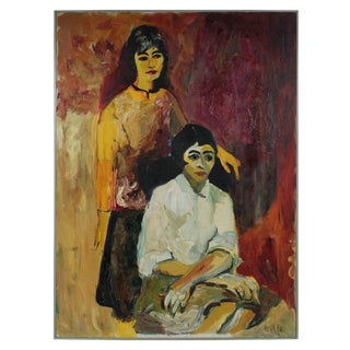 "Alysanne McGaffey ""Clara & Theodora"" Bay Area Figurative Portrait Oil Painting, 1963 1963 For Sale"