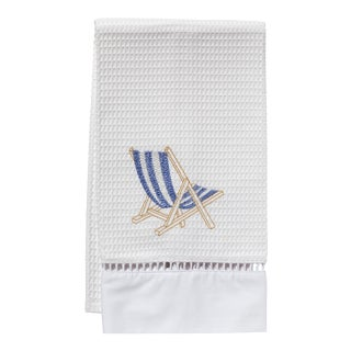Blue Deckchair Guest Towel White Waffle Weave, Ladder Lace, Embroidered For Sale