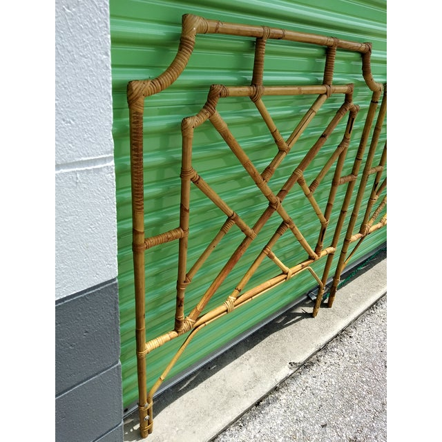 1960s Chippendale Design Burnt Bamboo Palm Beach Style Twin Headboards - a Pair For Sale In Tampa - Image 6 of 9