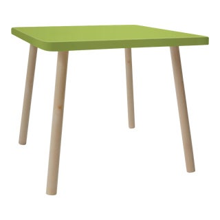 """Tippy Toe Small Square 23.5"""" Kids Table in Maple With Green Finish Accent For Sale"""