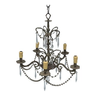 Vintage 5-Light Chandelier With Smoke Glass Beads and Clear Crystals For Sale