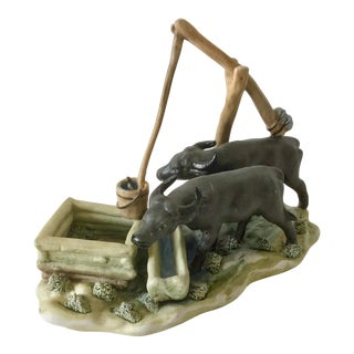 Vintage Oxen at the Fountain Figurine For Sale