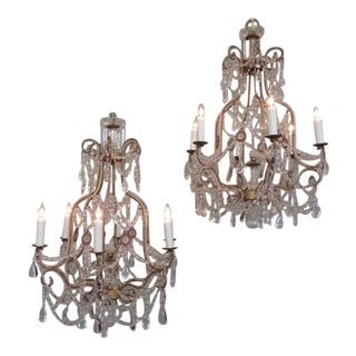 Early 20th Century Italian Piedmont Crystal and Amethyst Chandeliers
