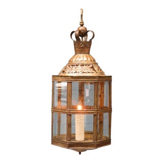 Mid-19th Century Netherlands Dutch Colonial Brass and Glass Lantern For Sale