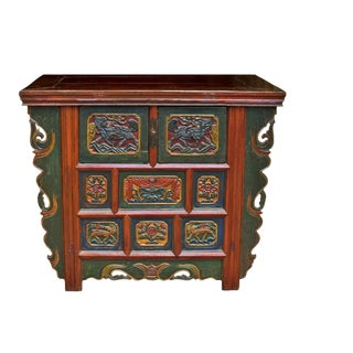 19th Century Tibetan Hand Carved Chest