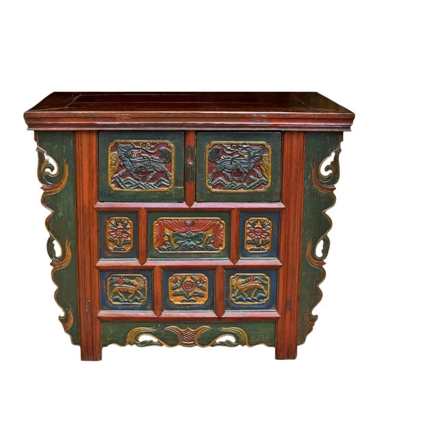 19th Century Tibetan Hand Carved Chest For Sale