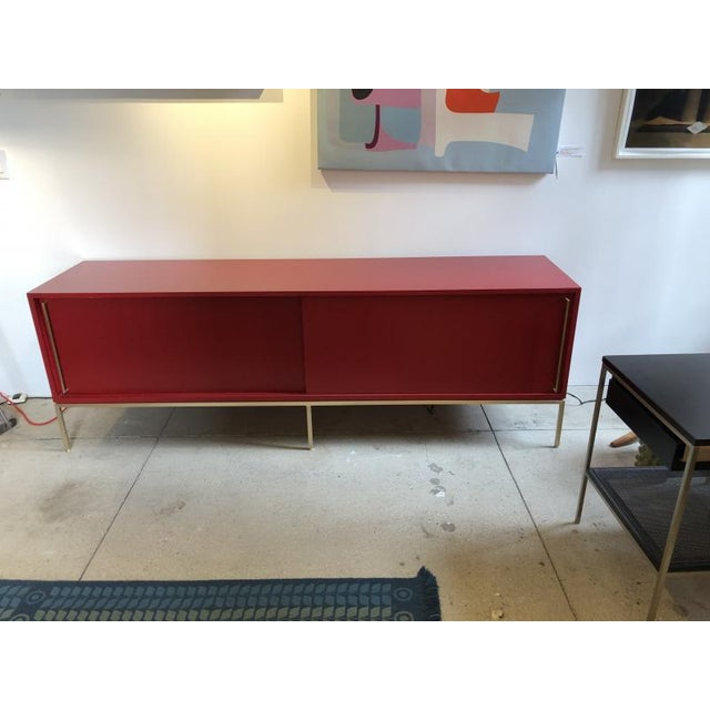 Modern Re: 379 Credenza With Red Lacquered Case on Satin Brass Frame-Floor Model For Sale - Image 3 of 6