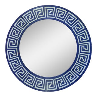 Vintage Blue and White Geometric Pattern Circle Mirror For Sale