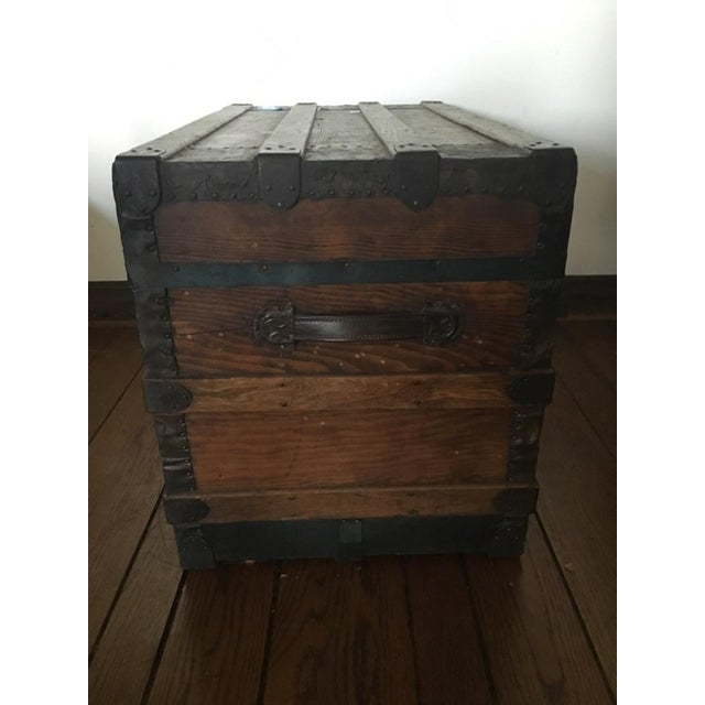 Antique Carved & Slatted Wood Steamer Trunk - Image 3 of 4