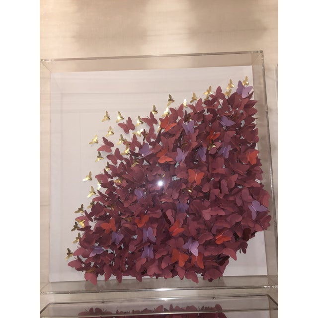 Wood Acrylic Four Panel Butterfly Art by Jen Lin For Sale - Image 7 of 12